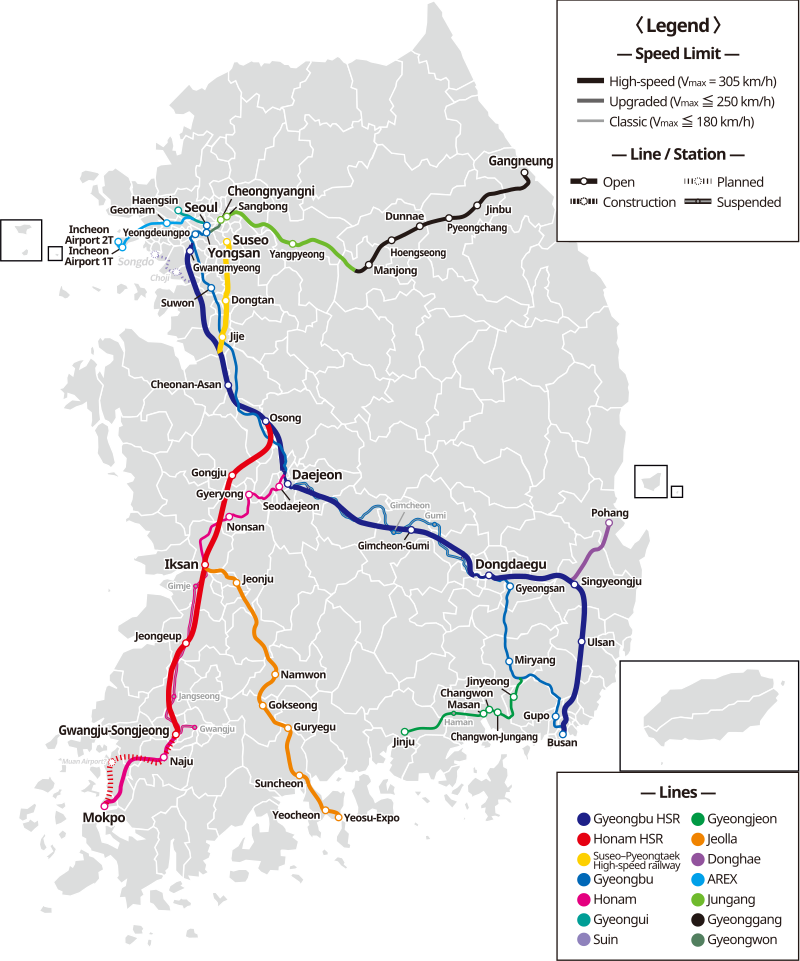 KTX high-speed train map in South Korea