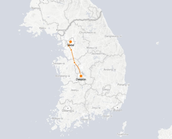 Seoul to Daejeon route shown on KTX train map
