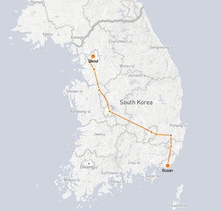 Seoul to Busan route shown on KTX train map