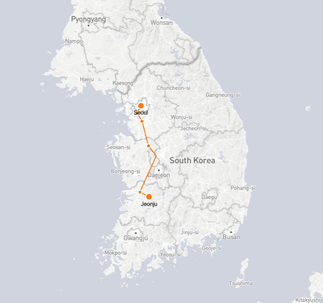 Seoul to Gwangju route shown on KTX train map
