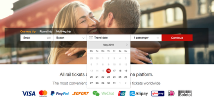 Example of booking KTX online ticket