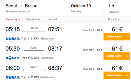 Example of selecting KTX ticket dates and train class