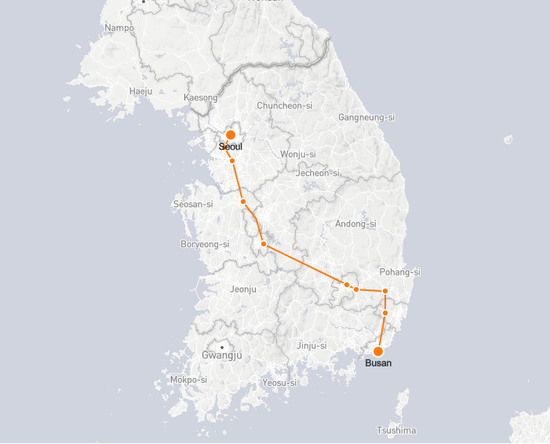 Busan to Seoul route shown on KTX train map
