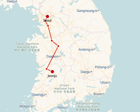 Seoul to Jeonju route shown on KTX train map
