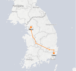Seoul to Ulsan route shown on KTX train map