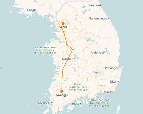 Gwangju to Seoul route shown on KTX train map